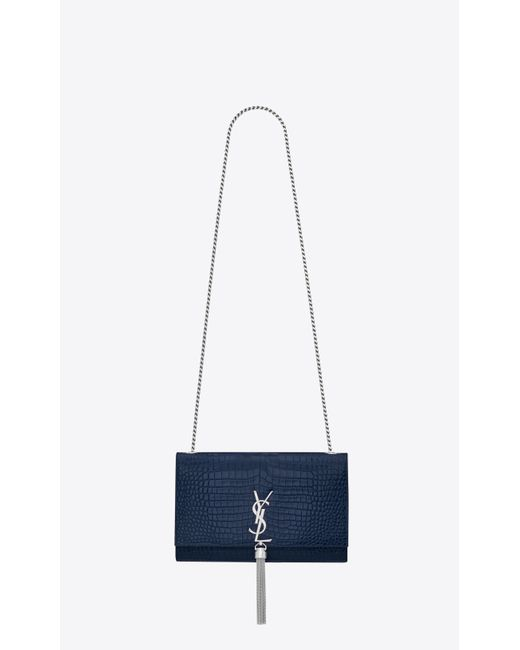 a78cfacc8a37 Saint Laurent - Blue Kate Medium With Tassel In Embossed Crocodile Shiny  Leather - Lyst ...
