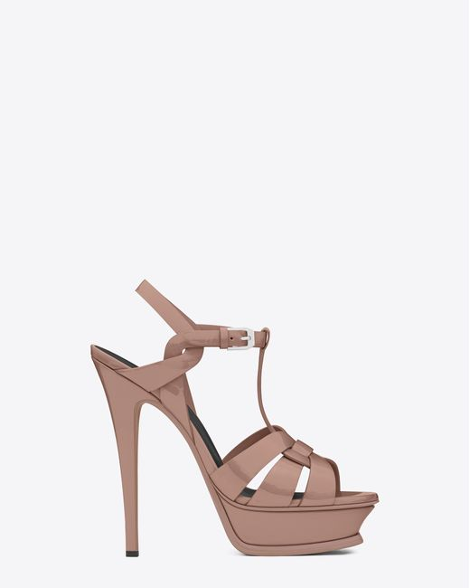 ab1a0d9074e Saint laurent Classic Tribute 105 Sandal In Light Dusty Rose Patent Leather  in Multicolor