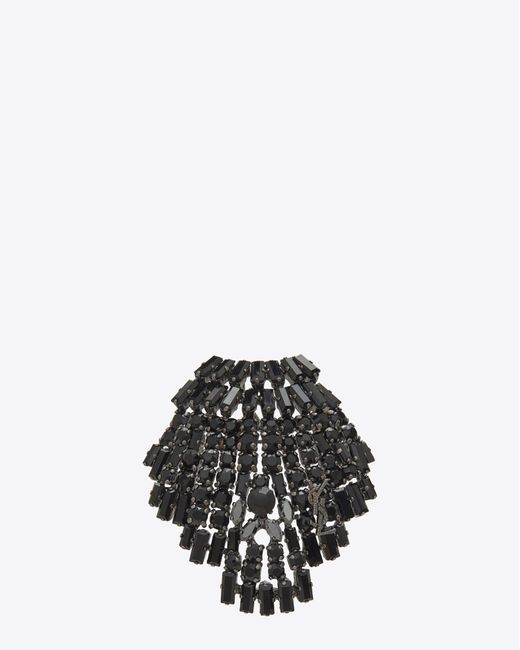 Saint Laurent | Smoking Seashell Brooch In Brass And Black Crystals | Lyst