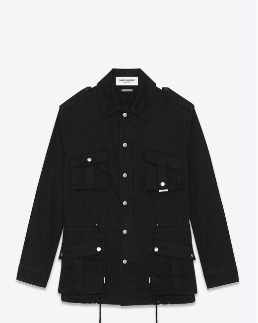 Saint Laurent | Military Parka In Black Cotton Gabardine for Men | Lyst