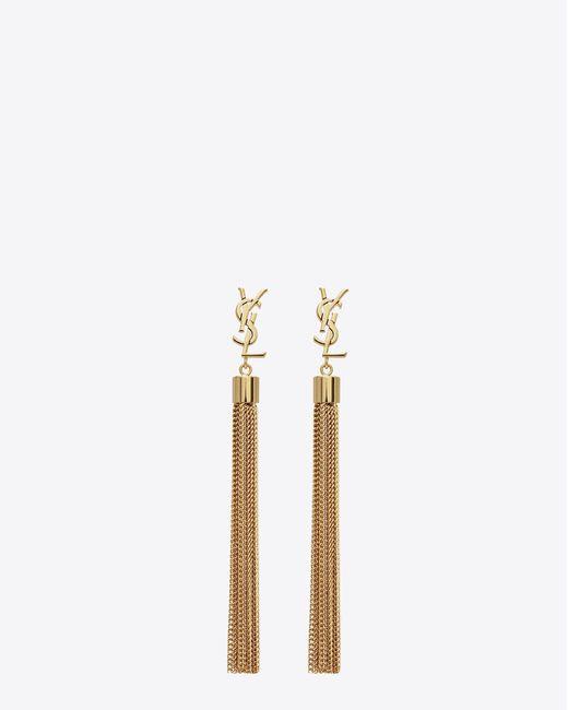 Saint Laurent | Metallic Monogram Mini Tassel Earrings In Gold Brass | Lyst