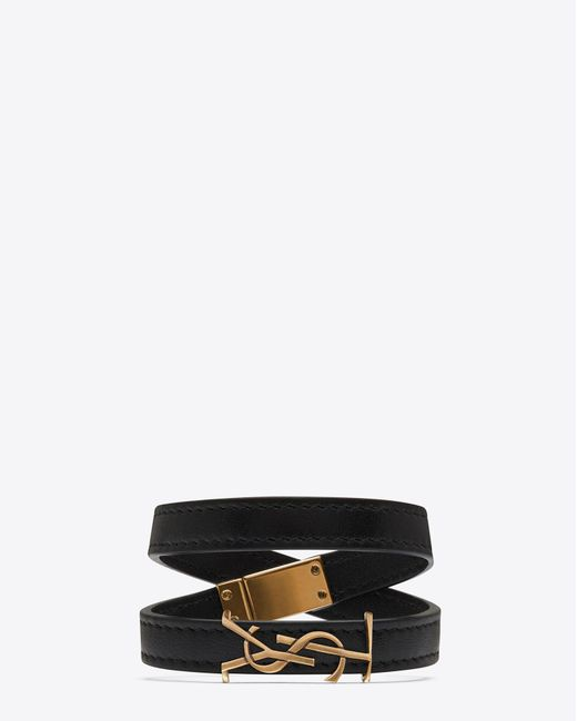 Saint Laurent | Ysl Double Wrap Bracelet In Black Leather And Light Bronze-toned Metal | Lyst