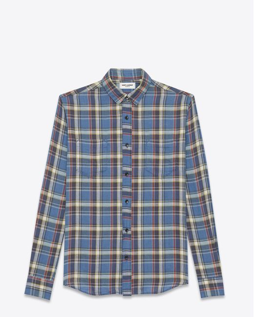 Saint Laurent | Rinse Plaid Narrow Collar Shirt In Blue Cotton for Men | Lyst