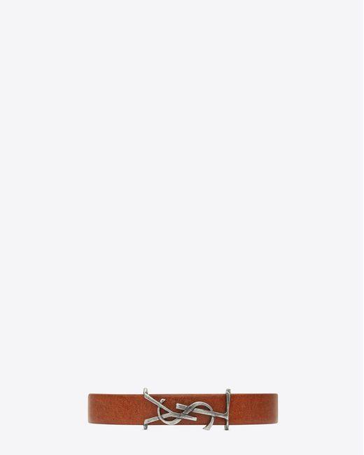Saint Laurent | Monogram Bracelet In Brown Leather And Brushed Silver-toned Metal for Men | Lyst