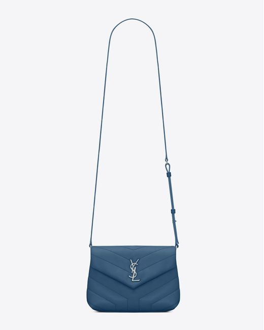 "Saint Laurent - Loulou Toy Bag In Shiny Denim Blue Leather With ""y"" Quilting - Lyst"