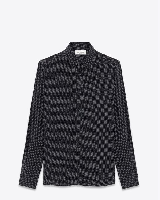 Saint Laurent | Signature Yves Collar Shirt In Black And White Micro Polka Dot Printed Silk | Lyst
