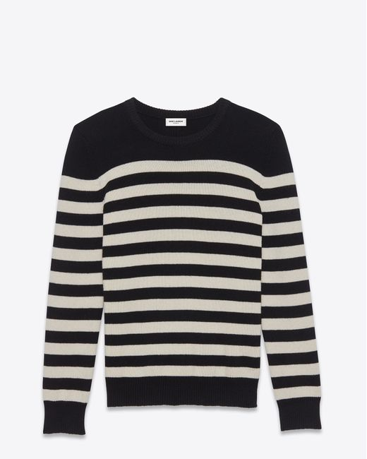 Saint laurent Jumper In Black And Ivory Striped Cashmere ...