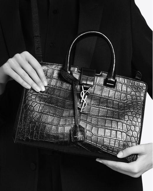Saint Laurent Small Cabas Ysl Bag In Black Crocodile