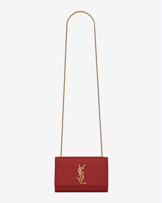 Saint Laurent | Small Kate Monogram Satchel In Lipstick Red | Lyst