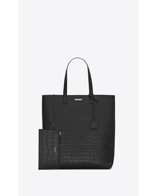 bc64ce446768 ... Saint Laurent - Black Bold Tote Bag In Crocodile Embossed Leather for  Men - Lyst ...