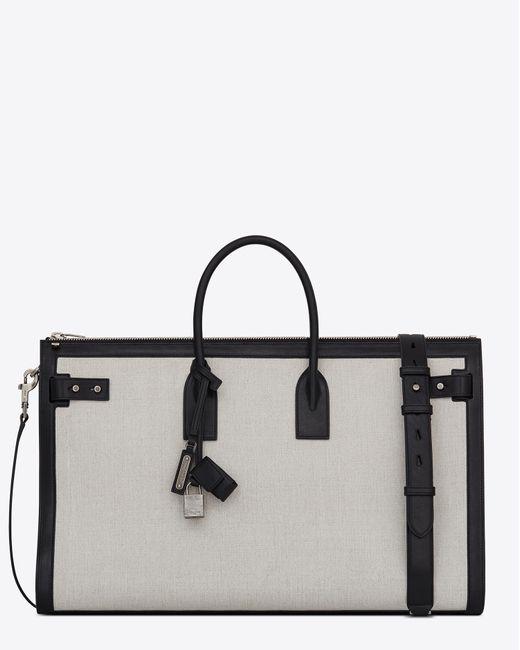 4ecbf8c0241 ... Saint Laurent - White Sac De Jour 48h Duffle Bag In Linen Canvas for  Men ...