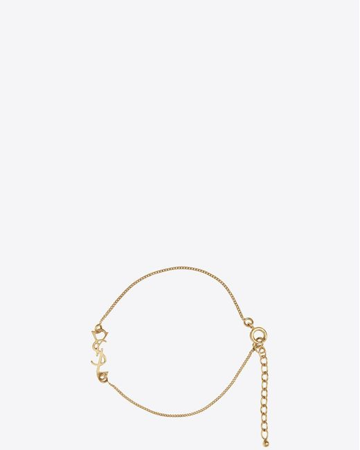 Saint Laurent - Metallic Charm Bracelet In Gold Brass - Lyst