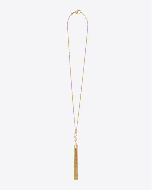 7e4dc096ab6d0c ... Saint Laurent - Metallic Mini Tassel Necklace In Gold Brass - Lyst