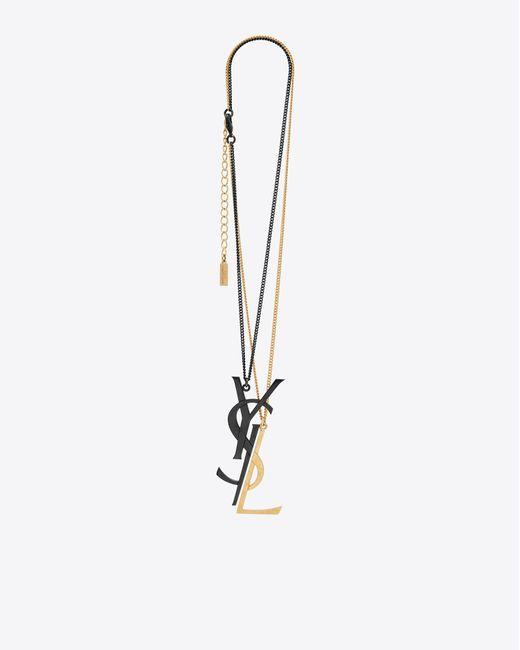 Saint Laurent | Monogram Deconstructed Pendant Necklace In Black And Gold | Lyst