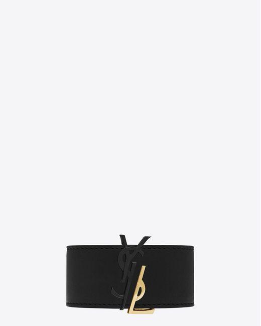 Saint Laurent   Monogram De Force Bracelet In Gold Metal And Black Leather   Lyst