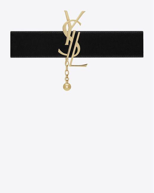 Saint Laurent | Metallic Monogram Choker In Light Gold-toned Brass And Black Velvet | Lyst