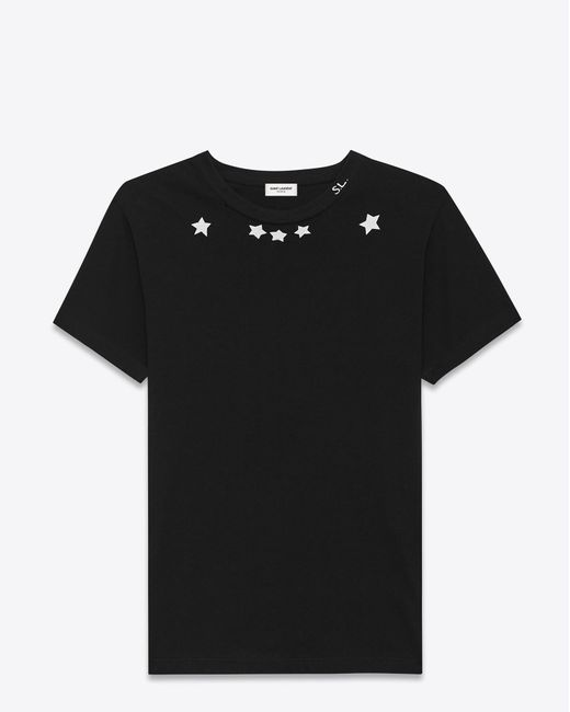 Saint Laurent | Short Sleeve T-shirt In Black And Ivory Star Printed Cotton Jersey | Lyst