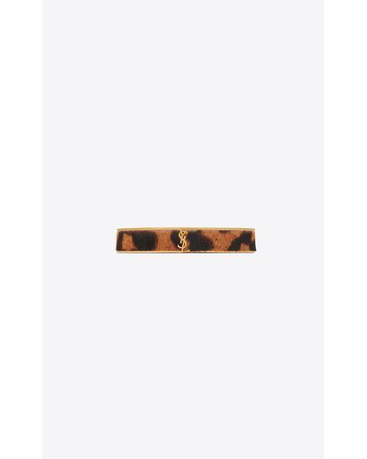 Saint Laurent - Metallic Narrow Animal Bracelet In Gold Metal And Leopard-look Calfskin - Lyst