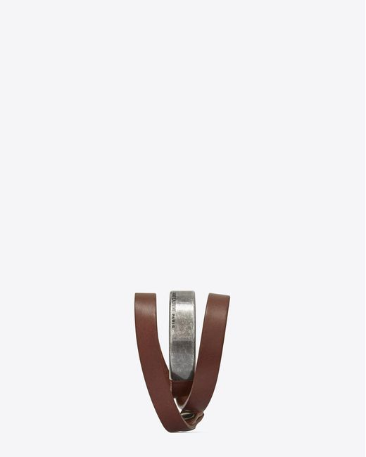 Saint Laurent - Brown Leather Bracelets for Men - Lyst