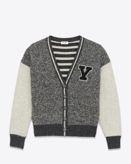 Saint Laurent - Gray Knitwear Tops for Men - Lyst