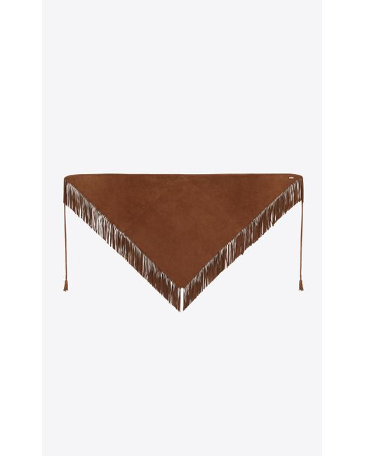 Saint Laurent - Brown Foulard triangle frangé en suède marron clair for Men - Lyst