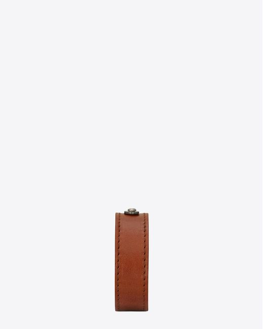 Saint Laurent - Id Bracelet In Brown Leather And Brushed Silver-toned Metal for Men - Lyst