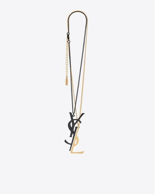 Saint Laurent - Monogram Deconstructed Pendant Necklace In Black And Gold - Lyst