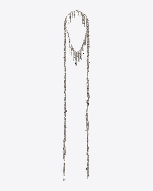 Saint Laurent - Metallic Long Necklace - Lyst