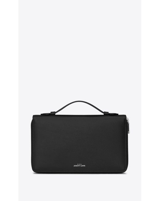 Saint Laurent - Black Organizer paris en cuir texturé noir for Men - Lyst