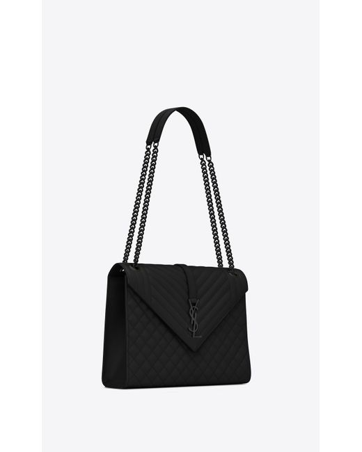 86e5fe77128e1 ... Saint Laurent - Black Envelope Large Bag In Grain De Poudre Embossed  Leather - Lyst ...