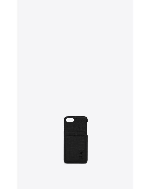 Saint Laurent - Black Coque d'Iphone 8 MONOGRAM en cuir embossé crocodile for Men - Lyst