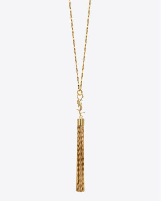Saint Laurent - Metallic Mini Tassel Necklace In Gold Brass - Lyst