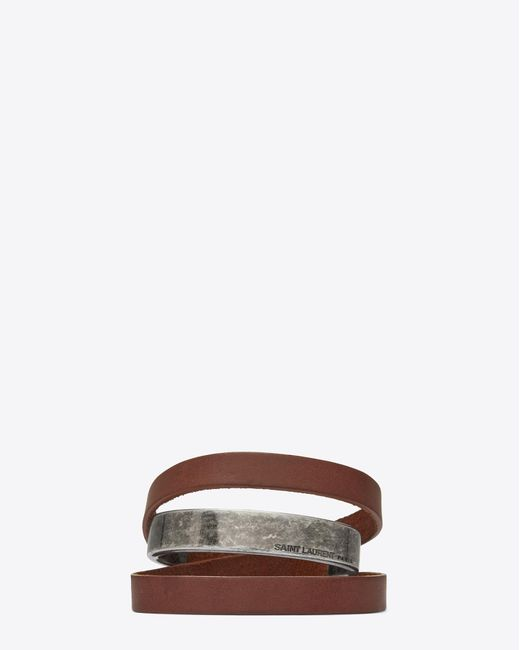 Saint Laurent - Brown Leather Bracelets - Lyst