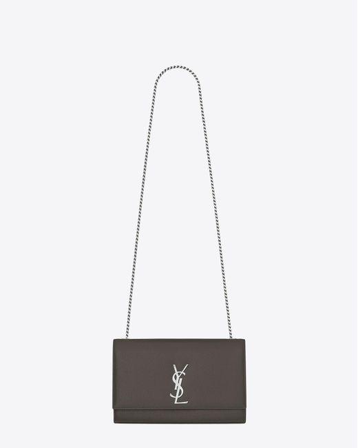 ... Saint Laurent - Gray Classic Medium Kate Satchel In Grey Grain De  Poudre Textured Leather ... 03a820986ceb4