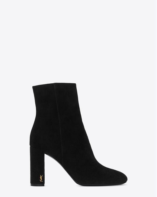 Saint Laurent - Black Loulou 95 Ankle Boots - Lyst