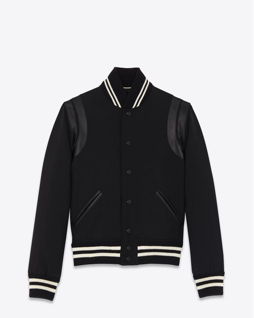 Saint Laurent | Classic Teddy Jacket In Black Wool Gabardine And Leather for Men | Lyst