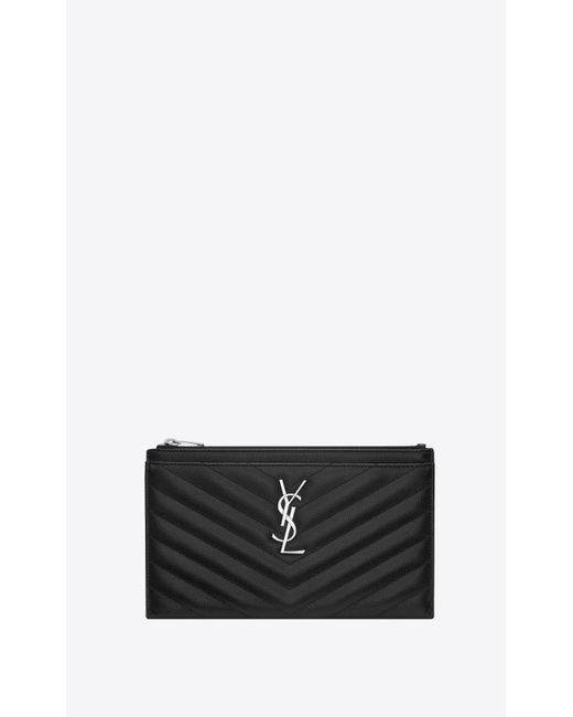 Saint Laurent Black Monogram Bill Pouch