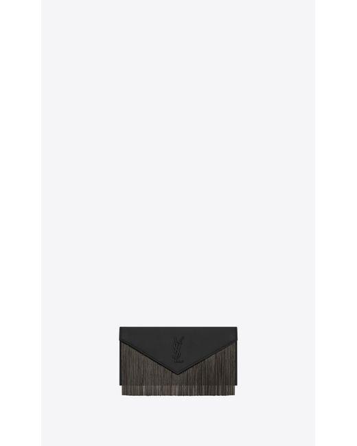 Saint Laurent - Le Sept Fringed Pouch In Black Leather - Lyst