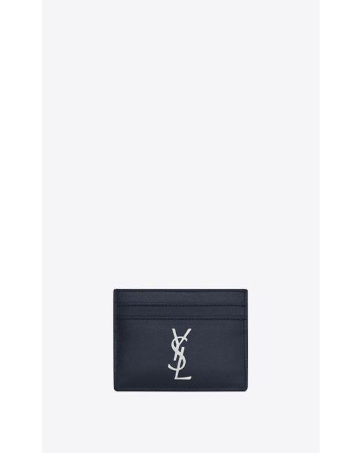 Saint Laurent - Blue Monogram porte-cartes en cuir brillant for Men - Lyst