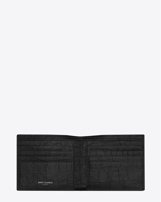 Saint Laurent - Black Monogram East/west Wallet In Crocodile Embossed Leather for Men - Lyst