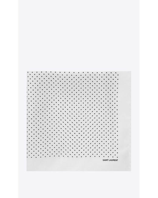 Saint Laurent - White Foulard en soie ivoire à imprimé pois noir for Men - Lyst