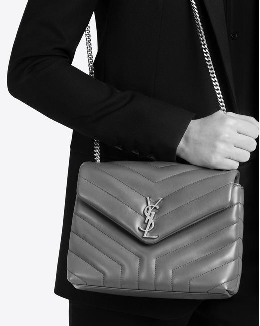 Lyst Saint Laurent Small Loulou Chain Bag In Grey Quot Y