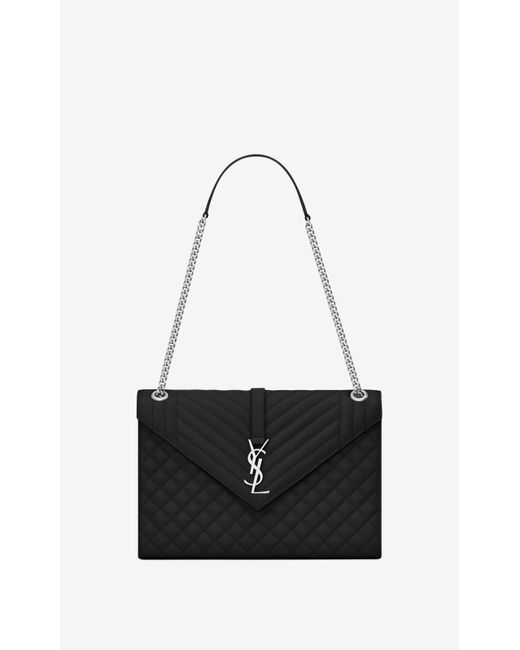 f8ca5532f6 Saint Laurent - Black Envelope Large Bag In Grain De Poudre Embossed Leather  - Lyst ...