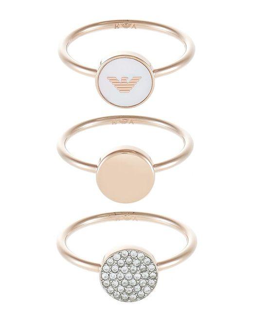 Emporio Armani   Metallic 3 Pack Ring   Lyst