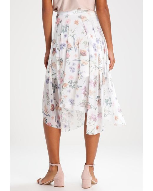 New look Bella Botanical A-line Skirt in White | Lyst
