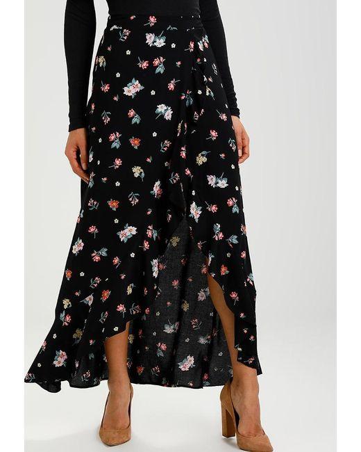 new look dakota frill maxi skirt in black lyst