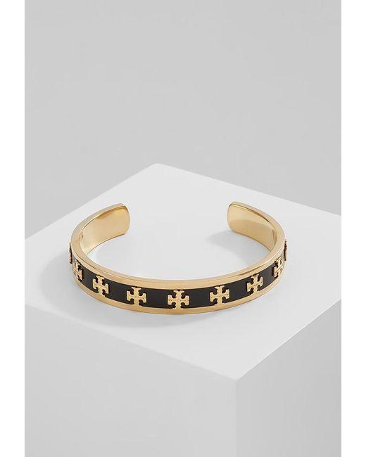 Tory Burch | Black Raised Logo Cuff Bracelet | Lyst