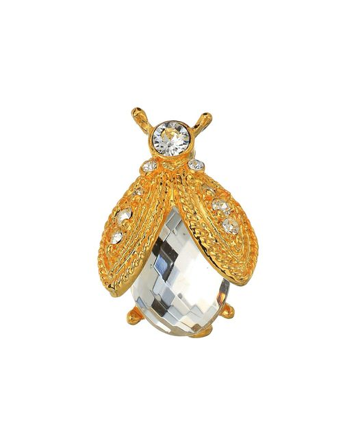 Kenneth Jay Lane - Metallic Gold Rhine/faceted Crystal Bee Pin (gold/red) Brooches Pins - Lyst
