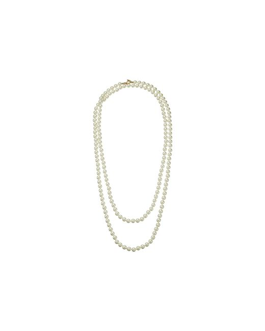 """Kenneth Jay Lane   White 60"""" 8 Mm Cultura Pearl And Gold Toggle Clasp Necklace   Lyst"""