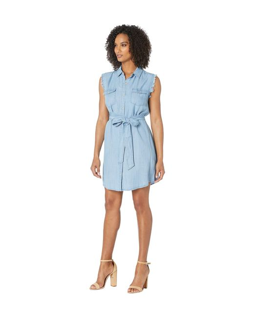 6bd3bf8541 ... Two By Vince Camuto - Blue Sleeveless Two-pocket Tie Waist Lyocell  Shirtdress (bayside ...